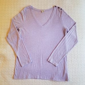 GAP Lavendar Button Shoulder Long Sleeve Top